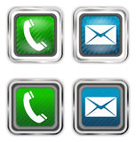 Phone and mail web design elements Stock Images