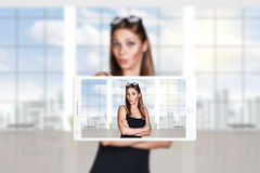 Phone makes photo of young woman Royalty Free Stock Image