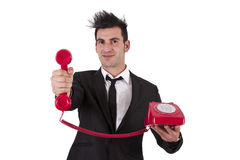 Phone. Man in suit and phone cord Stock Images