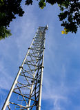 Phone mast. Rural communications mast from low viewpoint under tree canopy against blue sky royalty free stock images