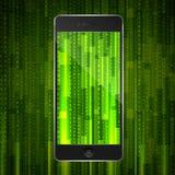 Phone with matrix background Stock Photos