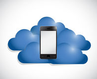 Phone in the middle of a set of clouds. Royalty Free Stock Images