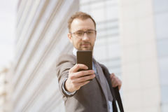 Phone, mobile, man, using, business, businessman, smartphone, sm Royalty Free Stock Photos