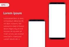 Phone, mobile smartphone design composition isolated on red background template. Realistic vector illustration mockup two phones. Stock Images