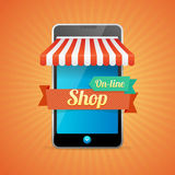 Phone Mobile Store On-line. Vector Royalty Free Stock Photo