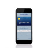 Phone with mobile wallet onlain shopping on the screen Stock Images