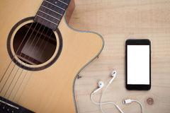 Phone mobile white screen showing white screen on top view music Stock Image