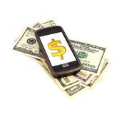 Phone, money and dollar Stock Images