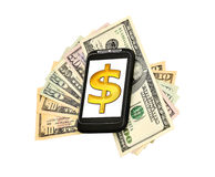 Phone, money and dollar Stock Photography