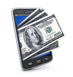 Phone and money Royalty Free Stock Photography