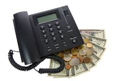 Phone with money on white. See portfolio for simil Stock Image
