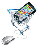 Phone mouse trolley concept Royalty Free Stock Photography