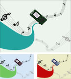 Phone Music. Illustration of the phone from which the music plays Royalty Free Stock Images