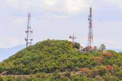 Phone,network,mountain,sky. Phone network antennas on the mountain Stock Photography