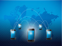Phone network and world business background. Royalty Free Stock Image