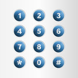 Phone number blue button on gray background Stock Image