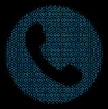 Phone Number Composition Icon of Halftone Bubbles. Halftone Phone number composition icon of spheres in blue color tints on a black background. Vector round Stock Photo