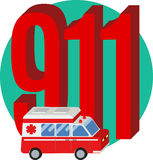 911 phone number. Icon emergency help phone number 911 Royalty Free Stock Photography