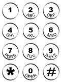 Phone number key pad Royalty Free Stock Photos
