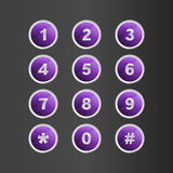 Phone number violet button on gray background Royalty Free Stock Images
