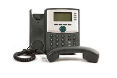 Phone Off The Hook. IP Phone Off The Hook On White Isolated Background Stock Photography