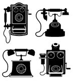 Phone old retro vintage icon stock vector illustration black out Stock Photo
