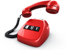 Phone with one button. 3d rendering of an old vintage phone with three BIG buttons saying 911 Stock Images