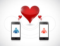 Phone . online dating graphic concept. Royalty Free Stock Images