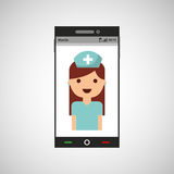 Phone online health nurse character Stock Photography