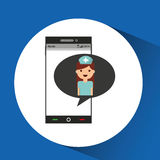 Phone online health nurse character Royalty Free Stock Photography