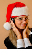 Phone operator with a christmas cap Stock Image