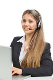 Phone operator with laptop Stock Image