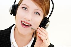 Phone operator over white. Woman operator portrait  in communication Stock Photos