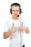 Phone operator showing thumb up over white Stock Images