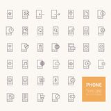 Phone Outline Icons for web and mobile apps Stock Images