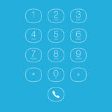 Phone Outline Keypad for Touchscreens. Vector User Interface Royalty Free Stock Image