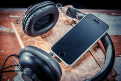 Phone pad, headphones, music Royalty Free Stock Photography