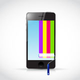 Phone and paint roller. illustration design Royalty Free Stock Photos