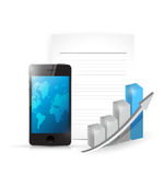 Phone paper and business graph illustration Stock Photos