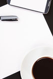 Phone, Paper and Coffee Royalty Free Stock Images