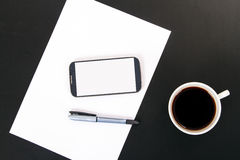 Phone, Paper and Coffee Royalty Free Stock Image