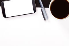 Phone, Paper and Coffee Royalty Free Stock Photos