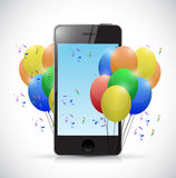 Phone and party balloons. illustration design Stock Images