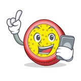 With phone passion fruit character cartoon. Vector illustration Stock Photography