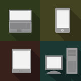 Phone, pc, tablet and laptop. Vector illustration, phone, pc, tablet and laptop Stock Photos