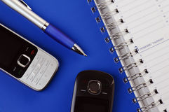 Phone and pencil Royalty Free Stock Images