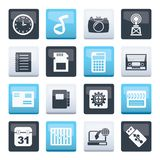 Phone Performance, Internet and Office Icons over color background. Vector Icon Set stock illustration