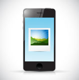 Phone and photo illustration design Royalty Free Stock Photography