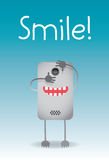 Phone photography. Cell phone taking a picture with the word smile in the background stock illustration