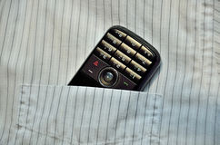 Phone in the pocket. Phone in the breast pocket Stock Photos